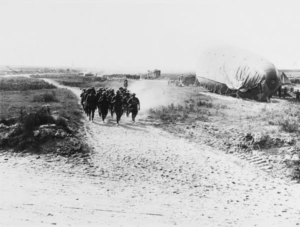 Australian troops returning from the front after several hard days of fighting at Harbonnieres, Somme, on the Western Front in France during World War I in August 1918