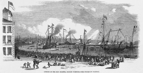 Opening of the New Channel, Belfast Harbour - the start of the procession