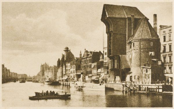 The harbour, Danzig, with old mercantile buildings