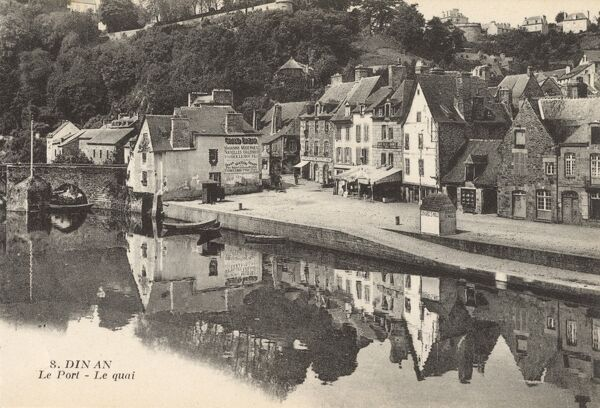 The harbour on the banks of the Rance Rivar at Dinan, Brittany, France Date: circa 1910s
