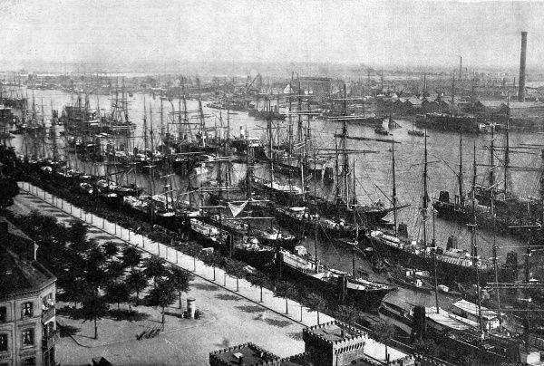 Aerial view of the harbour at Hamburg, with a large number of ships along the quayside, 1892