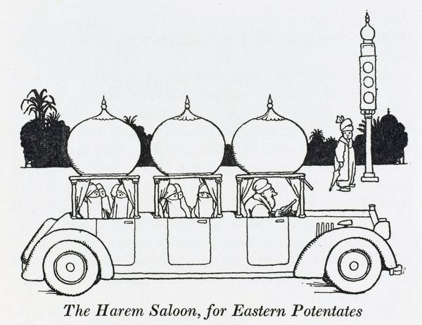 The Harem Saloon, built to resemble a small portion of Bagdad, with domes and minarets