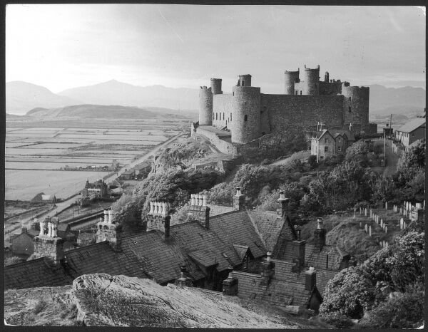 Harlech Castle, Wales, was built by King Edward I (1239 - 1307) on the site of an older building. The last Royalist castle to hold out for Charles I in the English Civil War