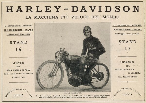 An Italian advertisement for Harley-Davidson, celebrating its status as the motor-cycle world land speed record-holder