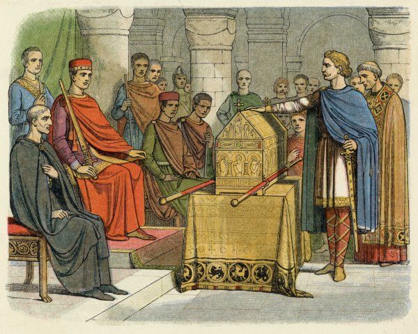 Harold, king of the English, swears fealty to Guillaume, duc de Normandie (William I)