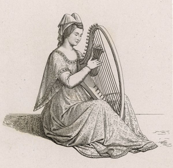 A medieval lady plays a small harp