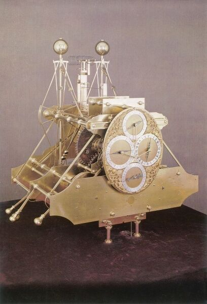 This photograph shows Harrison's first chronometer, developed between 1729 and 1735 in response to the British Government offer of a 20,000 prize to anyone who could solve the problem of an accurate marine timepiece to aid navigation