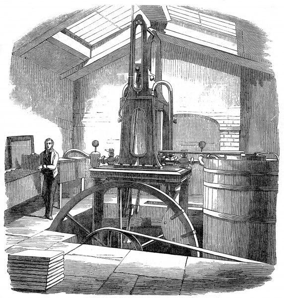 Engraving showing the ice making machine, designed by Mr. Harrison of Geelong, Australia, 1858. Built by Mr. Siebe of Denmark Street, Soho, London, this machine was a prototype reportedly capable of producing 5,000 to 6,000 pounds of ice per day