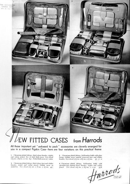Advertisement for four Harrods toiletries cases, 1935