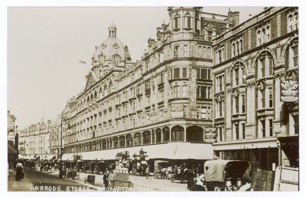An exterior view of Harrods, London Date: circa 1900
