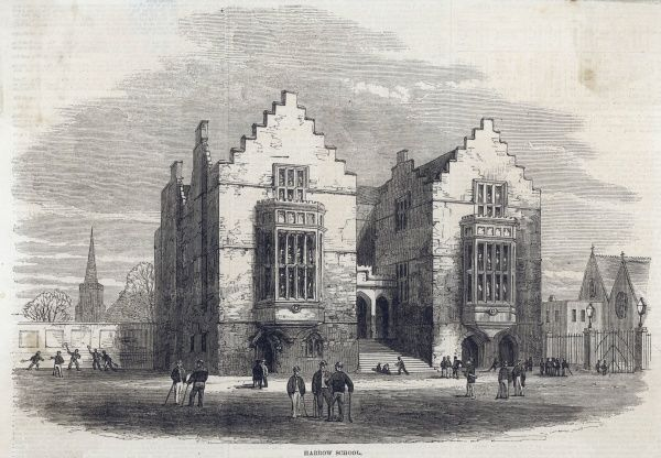 An exterior view of Harrow School, showing boys playing tennis and others standing around with cricket bats and hockey sticks