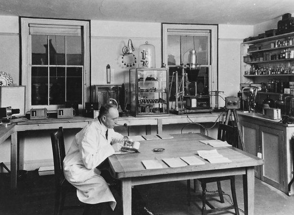 Psychical researcher and author, who used his knowledge of stage magic to expose phoney mediums, poltergeists and other scams, seen in his laboratory