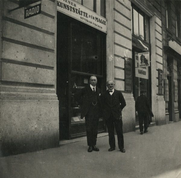 Undated photograph of Harry Price and Ottokar Fischer outside the latter's premises in Vienna. HPG/1/13/1 (xviii)