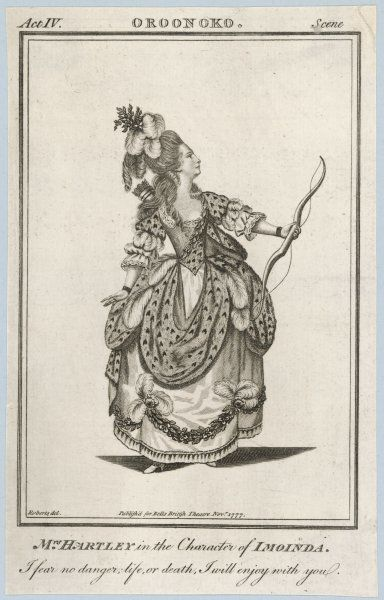 ELIZABETH HARTLEY, actress, as Imoinda in Aphra Behn's extremely popular 'Oroonoko&#39