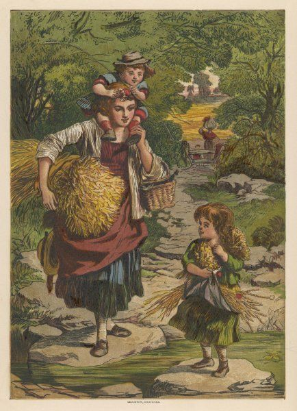 Gleaners - a mother and her children - return home with an armful of corn which they have been able to gather from the field after the reapers have finished their work