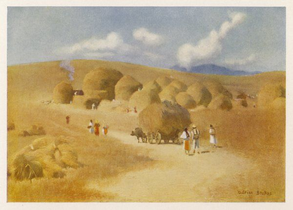 Harvest carts in the fields of Transylvania (which at this time was part of Hungary)