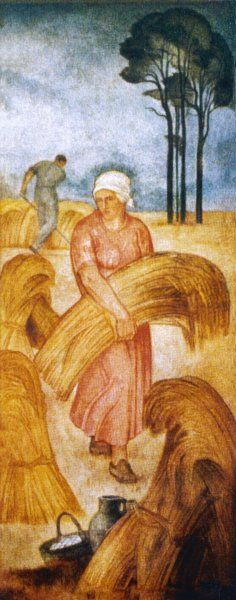 Harvest A woman in a red dress carries in the harvest while a man in the background cuts the crops with a scythe