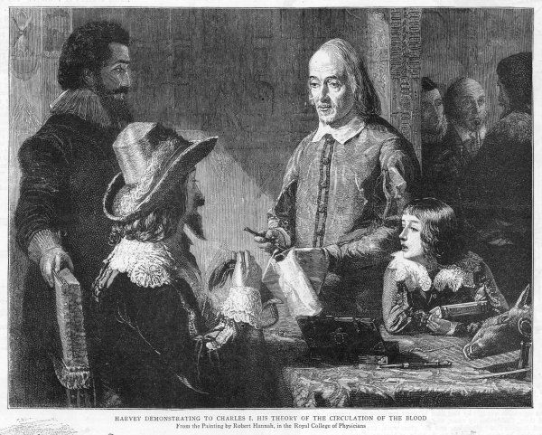 WILLIAM HARVEY explains his theory of the circulation of the blood to king Charles I whose physician he is