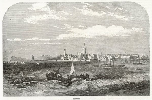 The Channel port of Harwich, Essex, seen from the sea ; the steamboat 'Orwell' is heading for the harbour in a choppy sea