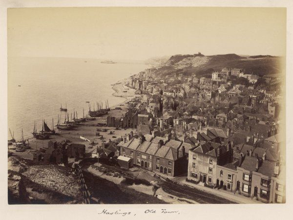 The Old Town, and the beach with fishing boats, before the building of the Promenade and other developments