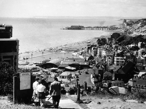 A general view of Hastings, Sussex, with the Old Town in the foreground. Date: 1953
