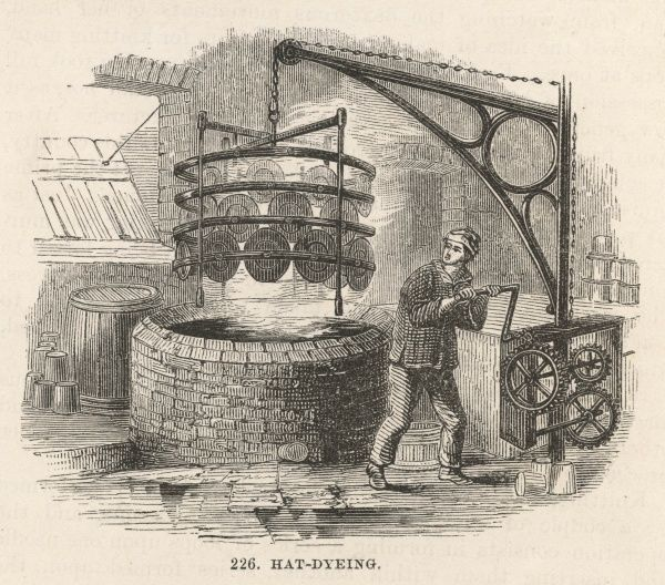 Except for a few eccentrics, Victorian gentlemen wear their hats any colour they like so long as it's black : this is the dyeing process