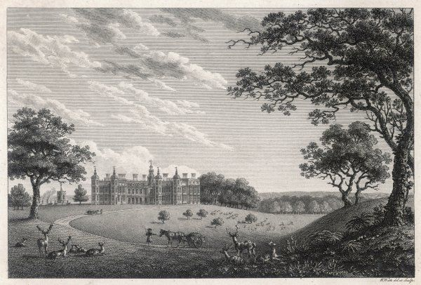A view across the deer park towards Hatfield House, Hertfordshire, the seat of the earls of Salisbury