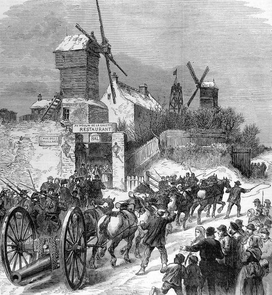 Illustration showing a gun carriage being hauled up the Buttes Montmartre, Paris, with the two famous windmills in the background, 1871. This sketch was sent out of Paris by balloon post