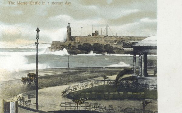 Havana, Cuba - The Morro Castle on a stormy day Date: circa 1903