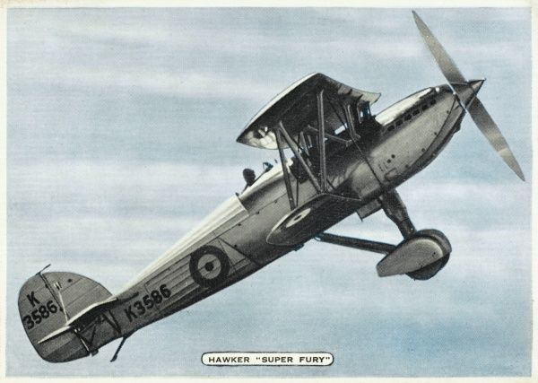 The single-seat 'Fury' fighter goes into service in 1931, and soon improved or modified models make their appearance, such as this 'Super Fury' offering enhanced performance. Date: 1933