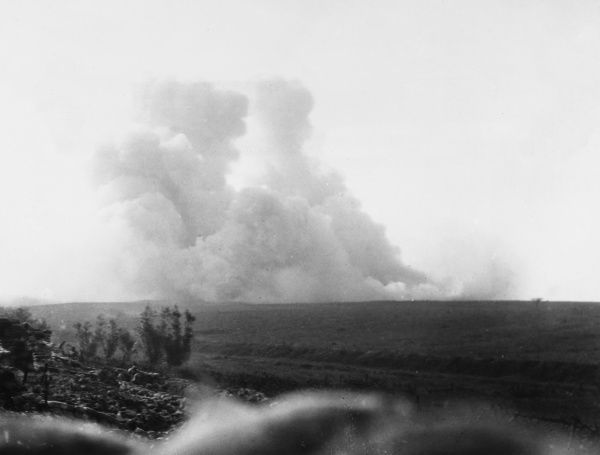 A huge mine is exploded at Hawthorne Ridge, near Beaumont Hamel, signalling the start of the Battle of the Somme