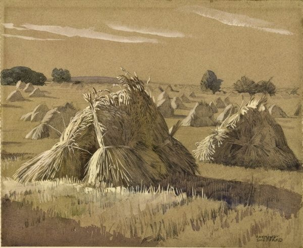 A view of a field with stacked bales of hay in the evening light. Pencil and watercolour sketch by Raymond Sheppard