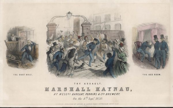 Austrian marshall Haynau, who had brutally suppressed the revolutionary movement in Austria and Italy, is attacked during his visit to Barclay Perkins brewery, London