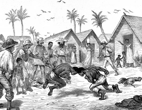 Engraving showing a head-butting fight between two young men in Venezuela, as a group of local people watch on, 1874