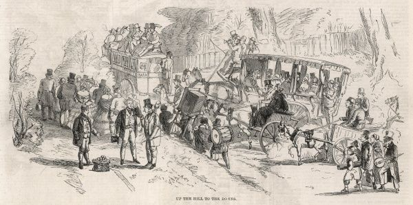 Engraving showing large numbers of pedestrians and several horse-drawn carriages heading up the London to Epsom road, on Derby Day in 1860. A number of the pedestrians shown are musicians and entertainers, heading to the racecourse to earn some money