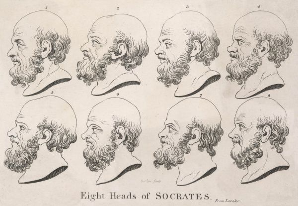 Eight heads of Socrates, Classical Greek philosopher of Athens, one of the founders of Western philosophy