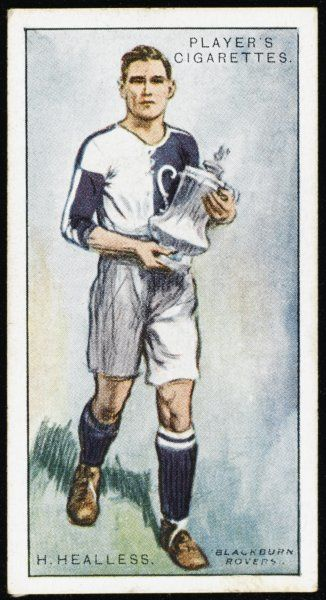 Harry Healless, player for Blackburn Rovers, holding the FA Cup