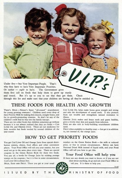 Issued by the Ministry of Food, to make adults aware what food and drink to give their under fives, so they will grow healthy. Milk, for firm muscles, straight bones and for its growth-promoting vitamins. Cod liver oil, helps make bones straight