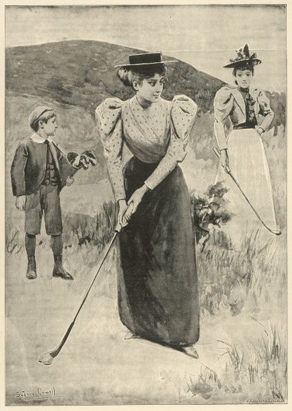 A young woman prepares to take a putt whilst out playing golf with a female companion. A small boy stands behind acting as caddie for the day, looking away in to the distance. Illustrating an article entitled 'Useful Pastimes For Health and Pleasure&#39