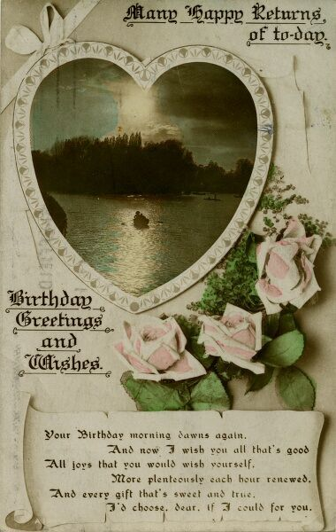 A heart-shaped scene on a lake, with three pink roses below, on a birthday postcard. Date: early 20th century