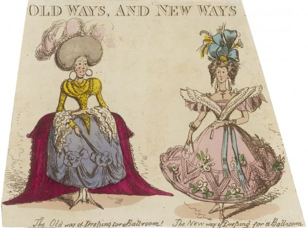 Ways of dressing for a ball, the old way and the new way - a satirical perspective