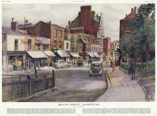 A charming view of Heath Street in Hampstead, North London with its range of traditional shops and pubs and with far fewer cars than you are likely to see today