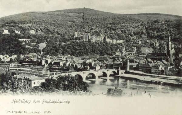 View from the Philosopher's Walk (Philosophenweg) - Heidelberg, Germany - above the Neckar River, crossed by the Karl Theodor Bridge (1788). Date: circa 1910s