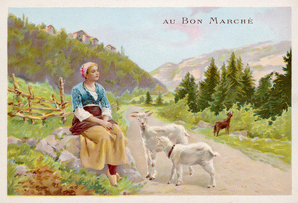 A girl day-dreaming with her goats around her