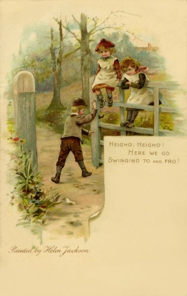 Heigho, Heigho! Here we go, swinging to and fro! -- three children swinging on a gate
