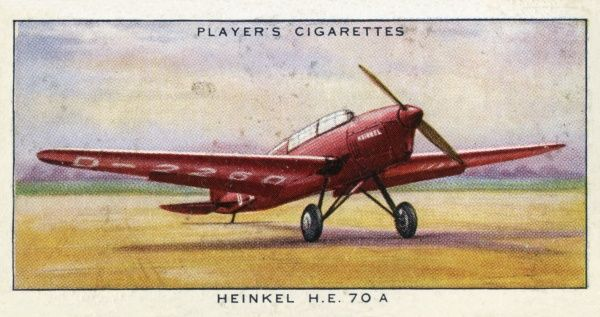 The Heinkel HE 70A commercial monoplane, carrying seven passengers, but mainly used for carrying mail. Date: circa 1936