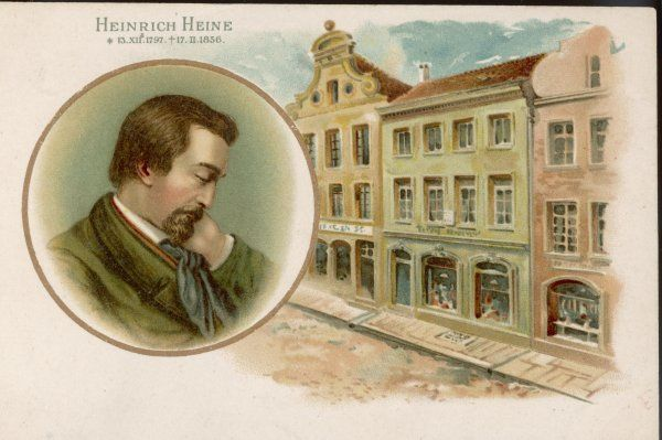 HEINRICH HEINE German poet and critic, with a view of his birthplace