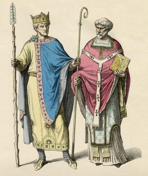 EMPEROR HEINRICH II known as THE HOLY Holy Roman Emperor (1014-24), seen here with a bishop Date: 973 - 1024