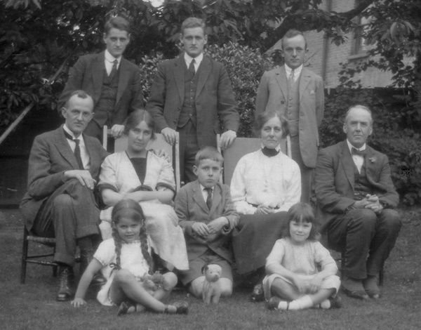 Helen Grace Culverwell Marsh-Lambert (1888-1981), prolific illustrator of children's books, pictured with her husband Charles Lambert, daughter Barbara and others, taken in Chiswick, west London