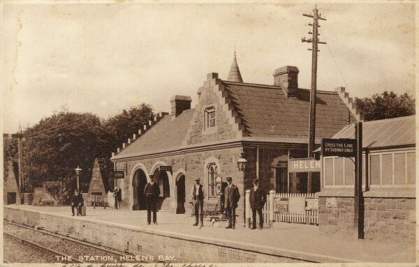 Helen's Bay, Northern Ireland - Railway Station. Built in 1863, by Benjamin Ferrey in the Scottish Baronial Style. Date: 1919